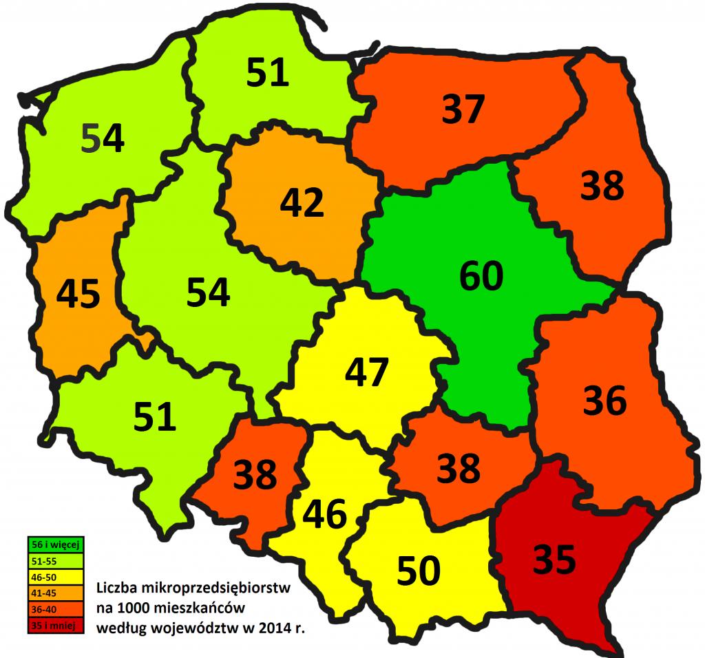 Liczba mikroprzedsiębiorstw na 1000 mieszkańców według województw w 2014