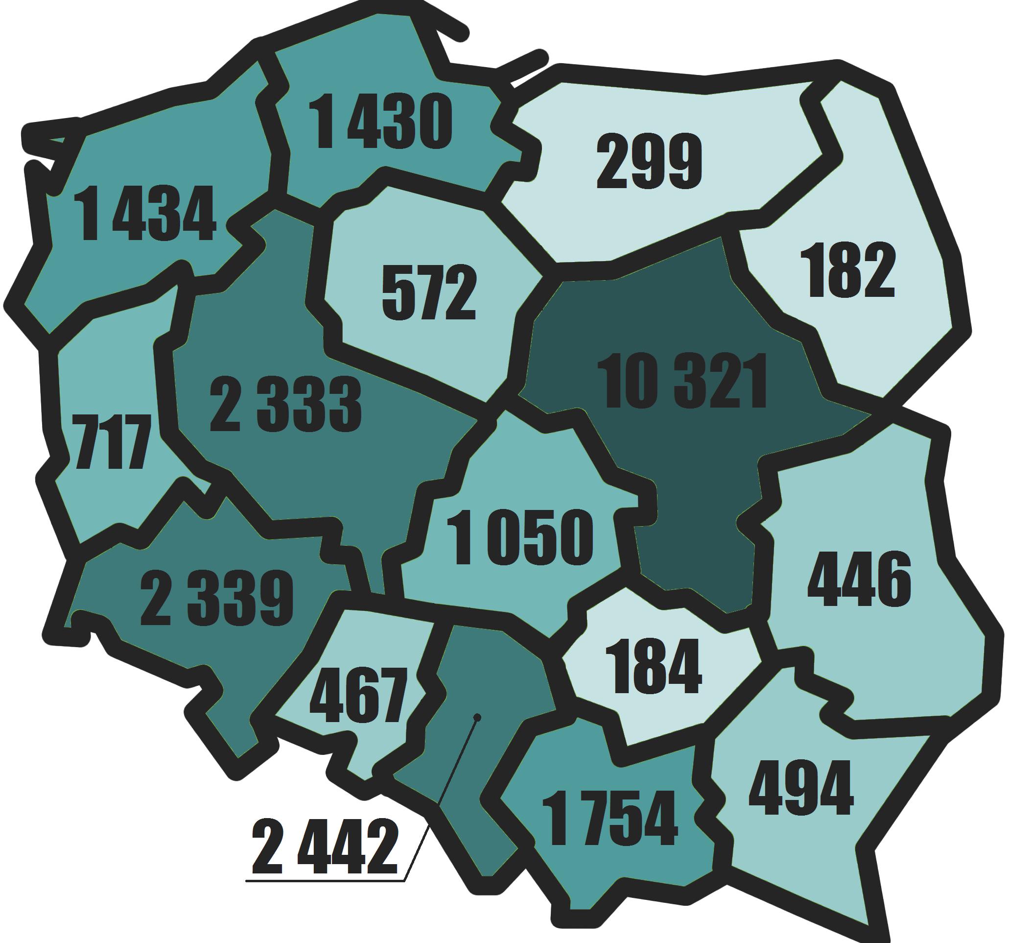 Liczba podmiotów z kapitałem zagranicznym w Polsce w 2014 w podziale na województwa